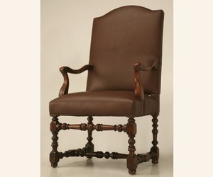 18th Century Antique French Leather Throne Chair