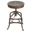 1940's Uhl Steel Toledo Industrial Stool With Wood Seat