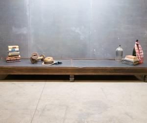 19th Century Solid Low Walnut Slate Modern50 Shelf