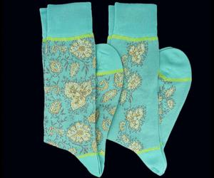 2 Pair - Vine Turquoise Socks