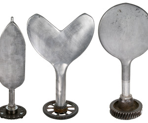 3 Large Vintage Aluminum Balloon Molds on Gear Stands