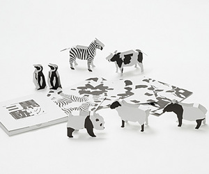 3D Black & White Animal Note Cards by EDU