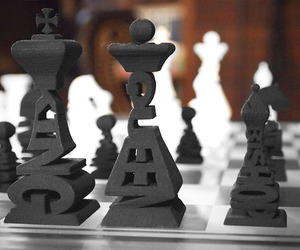 3D Printed Typographical Chess Set
