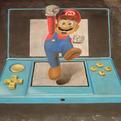 3D Super Mario Bros Chalk Art