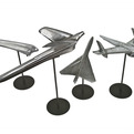 4 Vintage Chrome Automobile Hood Ornaments on Stands
