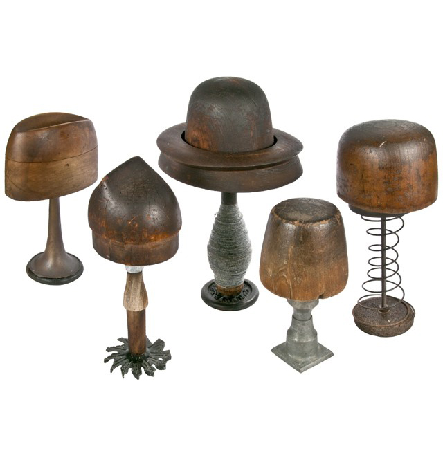 5 Antique Wood Hat Forms On Industrial Bases Relique