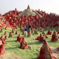 500 Santa Clauses Sand Sculptures in India
