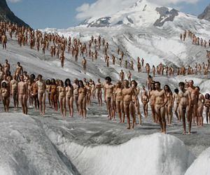 600 Naked People on a Glacier in Switzerland