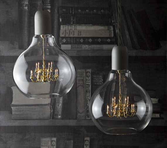 a chandelier inside a light bulb