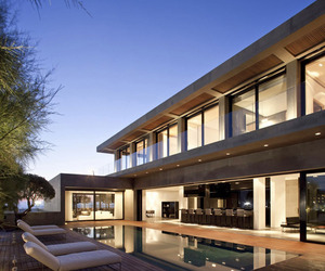 A modern concrete beach house