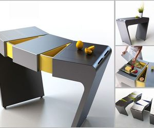 'Accordion Folding Cook Table' for small dwellings