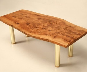 Aged French Burled Elm Slab Coffee Table with Brass Legs