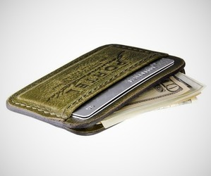 Aged Leather Credit Card Wallet by RetroModern