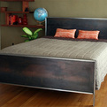 Aged Steel Panel Bed