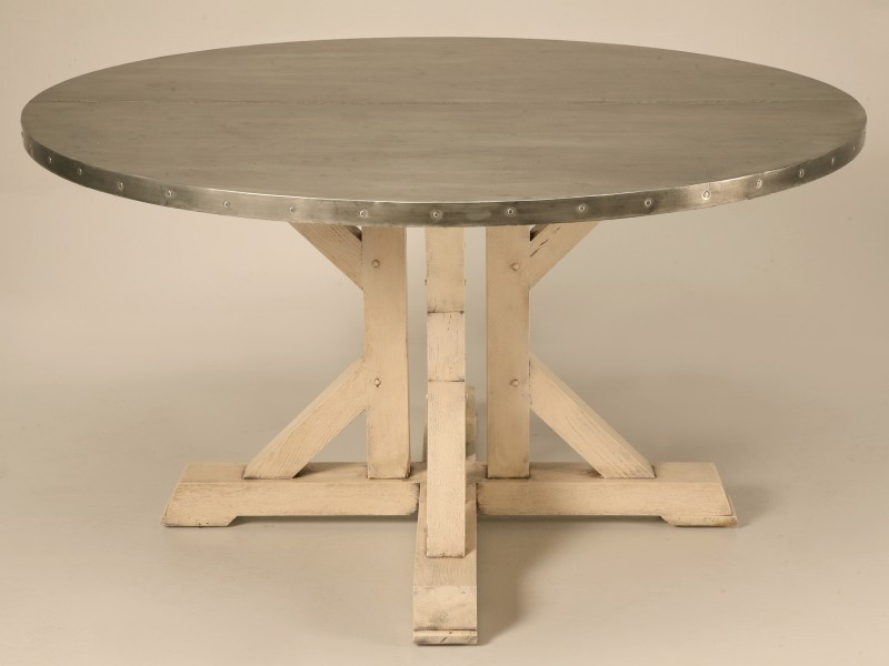 Amazing French 55 inch Round Zinc Topped Dining Table