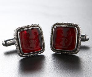 Androclus  The Lion Ruby Silver Cufflinks
