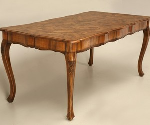 Antique Italian Hand Carved Oystered Olive Wood Table