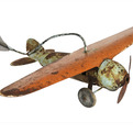 Antique Painted Pressed Steel Airplane Weather Vane
