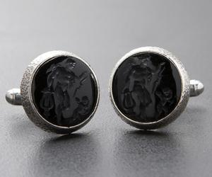 'Apollo with Lyre & Eros' - Black Onyx Silver Cufflinks