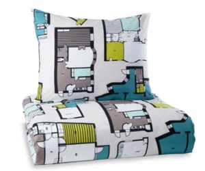 Architectural Sheet and Pillowcase
