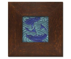 Art Nouveau Framed Fish Tile from Motawi