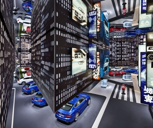 Audi's Hanging City by KMS Blackspace + SCHMIDHUBER