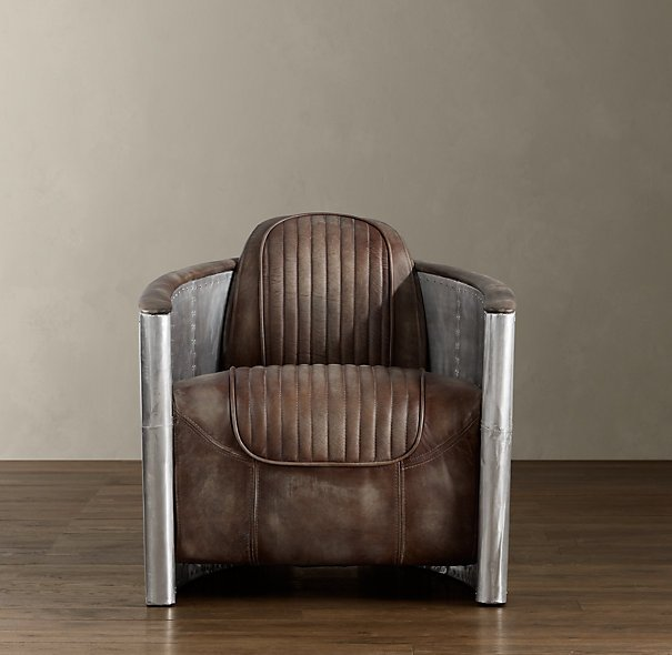 aviator swivel chair with distressed leather seat. Black Bedroom Furniture Sets. Home Design Ideas