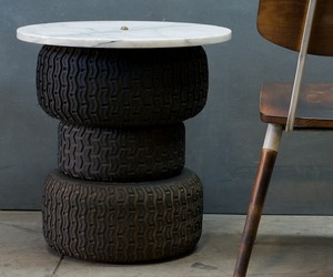 Basquiat Tire Stack Cafe Table Marble Steampunk Table