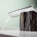 Bath Faucets Combine Modern Design With Rustic Materials.