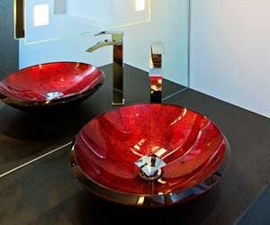 Bathroom: powder room with red glass sink