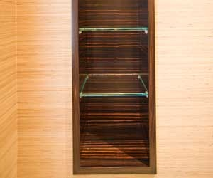 Bathroom towel niche of Macassar Ebony Veneer