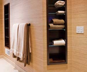 Bathroom towel niches of Macassar Ebony