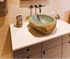 Bathroom vanity of Macassar Ebony with stone vessel sink