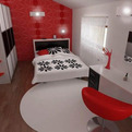 Bedroom Colors With Red, White, And Black