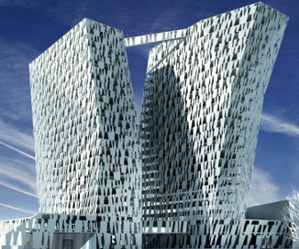 Bella sky hotel with two leaning towers for Sky design hotel