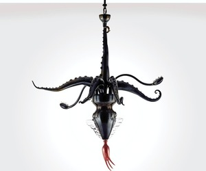 Black Octopus Chandelier by Maria Grazia Rosin