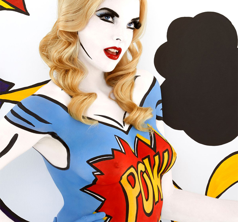 Professional Screeding Pop And Painting Designs Works: Body Paint Artist Emma Hack Goes POP