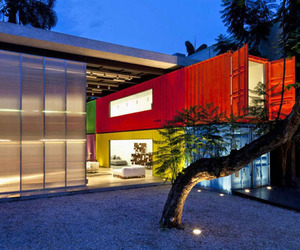 Colorful Shipping Container Store Design by Marcio Kogan