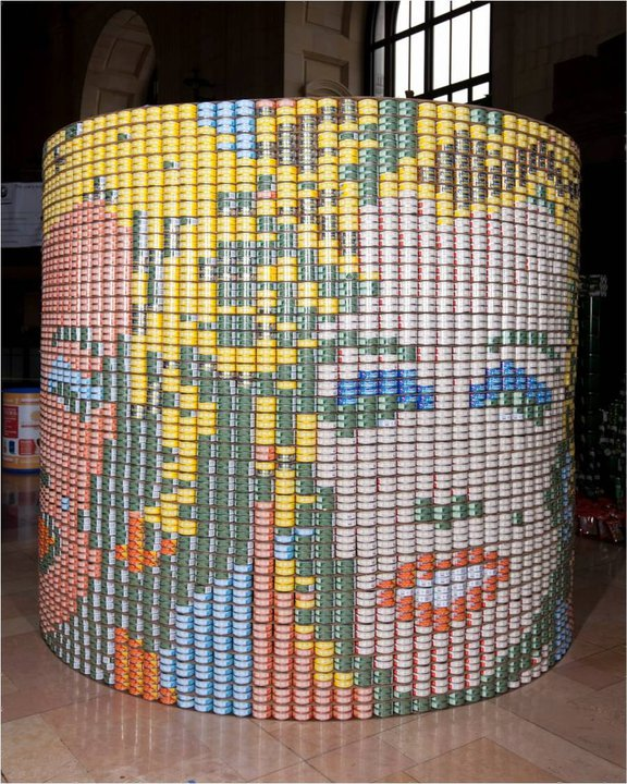 canned food sculptures instructions