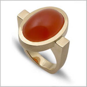 Carnelian Oval Bezel Ring