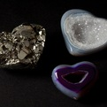 Carved Pyrite and Agate Hearts