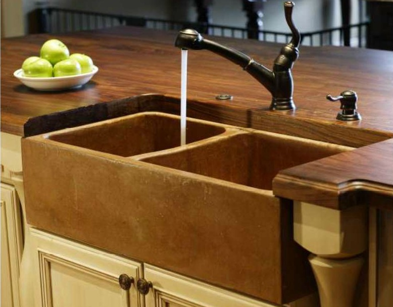 Cast Concrete Sinks And Solid Wood Countertops