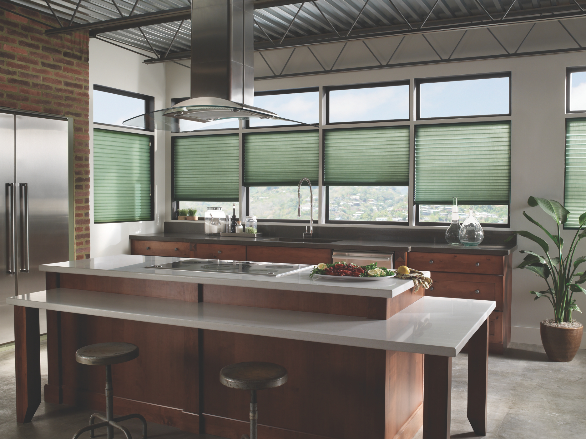 modern kitchen cellular shades from