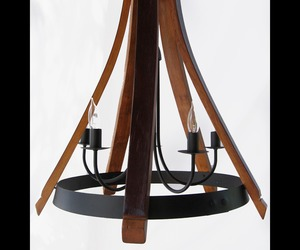 Cervantes chandelier recycled oak wine barrel staves & hoop