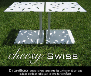 Cheesy Swiss Side Table by Etchboo Design