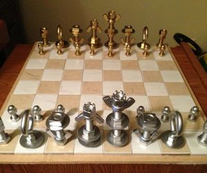 Chess Pieces made using Nuts and Bolts