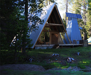 classic a frame log cabin with a modern twist in yosemite