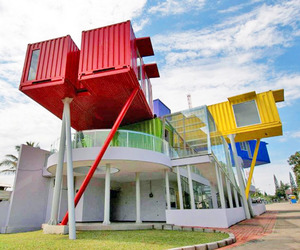 Clinic and Library Made from Shipping Containers