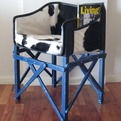 Cocktail Club Chair in Cowhide and Folding Wooden Frame