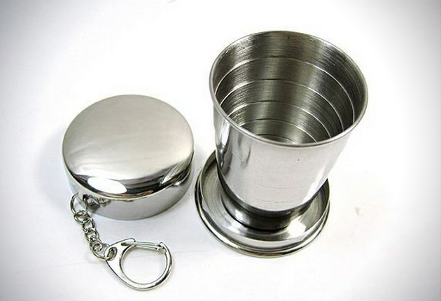 Collapsible Shot Glass Key Ring
